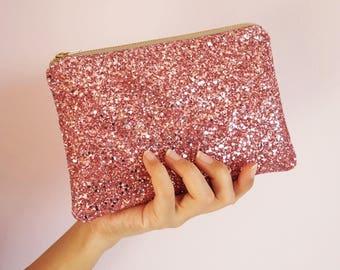 Rose Pink Glitter Makeup Bag, Sparkly Pink Glitter Cosmetic Bag, Rose Pink Glitter Zipped Pouch, Sparkly Pink Makeup Bag, Bridesmaid Bag,