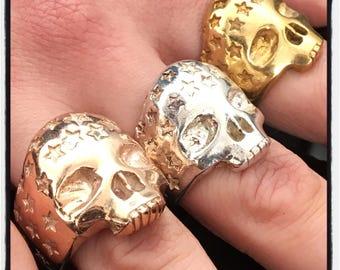 Sterling Silver Skull Star Ring Skull Stars Ring Skull Ring Star Ring Stars Ring Biker Skull Ring Biker Ring Silver Skull Ring Badass Ring