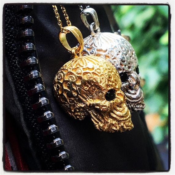 Etherial Jewelry Rock Chic Talisman Luxury Biker Custom Handmade Artisan Pure Sterling Silver .925 Bespoke Handcrafted Skull Badass Pendant