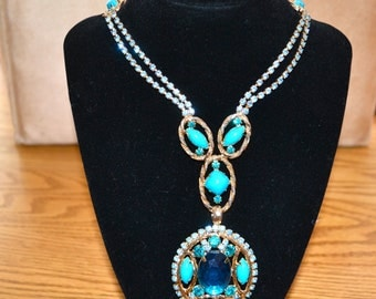 Vintage Large Blue Rhinestone Necklace