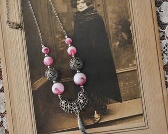 Antique Pink Glass Filigree Necklace