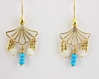 Turquoise earrings, Opal Earrings, Sleeping Beauty Turquoise - gold earrings, Pastel jewelry, jewelry gift, Opal jewelry, Beauty Fan