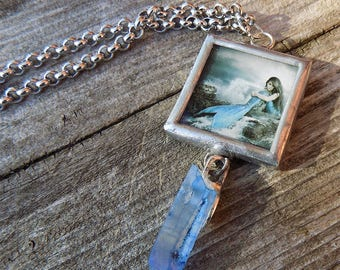 mermaid necklace, mermaid pendant, crystal agate, ocean necklace, fantasy necklace, art necklace, stainless steel, silver tone, framed