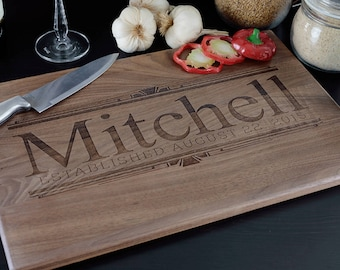 Custom Cutting Board, Personalized Cutting Board, Wedding Gift, Housewarming Gift, Engraved Wood Cutting Board, Art Deco, Family Name