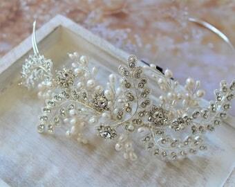 Wedding headband, Wedding hair piece , Bridal headpiece, Bridal Tiara  with pearl and crystals, Wedding headpiece , Bridal headband , UK