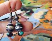 Van Gogh Art Book Paper Bead Earrings Color Stacks