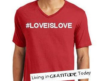 Men, Red, v neck,  LOVEISLOVE cotton tee. Equality shirt, Gay Pride, Pride March shirt, Love tee, inspirational tee, positive vibes, Gay