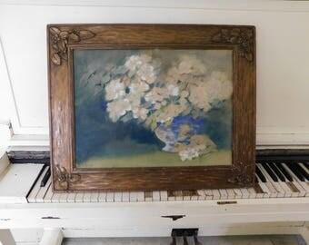 """Antique, Framed, Floral Still Life, Orginal Art, Signed D. E. EAB, Wood/Plaster Carved Framed, 20"""" x 25 1/4"""""""