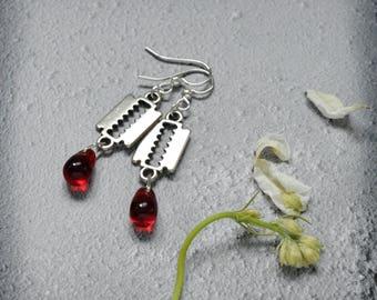 Cutting Edge, OOAK Razor and Blood Drop Earrings Handmade Vampire themed Gothic Jewelry