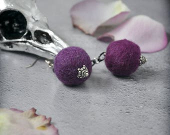 August Chills SALE Purple Felt Statement Earrings OOAK Handmade Purple and Black Statement Jewelry with aGothic Touch