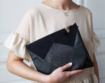 Pocket * NINA * black. (Suede, faux leather and glitter)