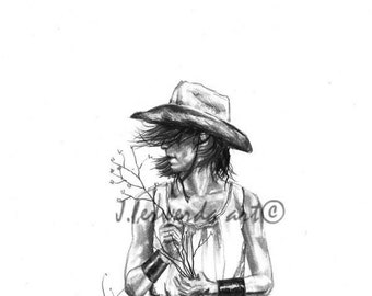 Pencil Drawing Print - The Iron Cowgirl - Day 92
