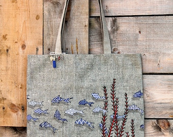 """Tote bag in natural linen lined and illustrated """"fish tiles"""""""