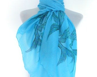 Mermaid scarf. Turquoise scarf with Mermaid print. Boho scarves.