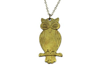 Gold Owl Necklace, Gold Owl Pendant, Brass Owl Necklace, Brass Owl Pendant, Long Chain Necklace