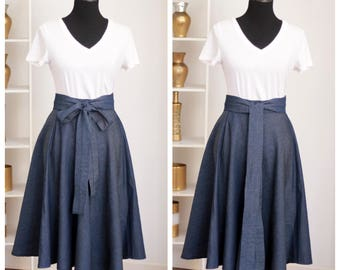 Denim Chambray Circle Midi Skirt with Pockets and Belt Plus Sizes Available too
