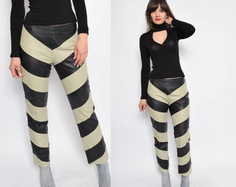 Vintage 90's Color Blocking Leather Pants - Size Medium