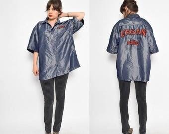 Vintage 90's Embroidered Glossy Denim Button Shirt - Size XXL