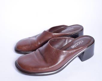 Vintage 90's Brown Slipper Sandal Mule Chunky Heel Clogs
