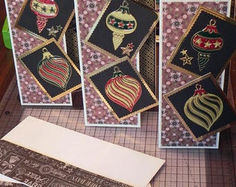Christmas Dazzle Ornaments Card Set of 3