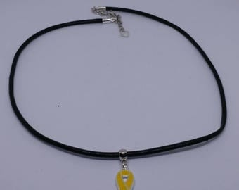 Yellow / Gold Awareness Ribbon. Black cord Necklace - support gift, liver cancer.