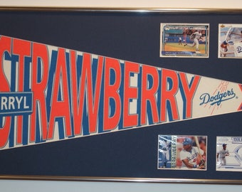 LA Dodgers Darryl Strawberry Player Pennant & Cards...Custom Framed!!
