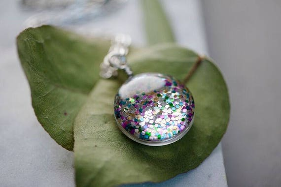 Double Sided Rainbow Glitter Bomb Necklace