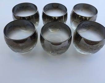 6 Roly Poly Silver Fade/Ombré embossed Rocks Glasses