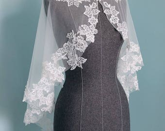 Chic Ivory white French lace and  Tulle Bridal Shaw, bridal Cape Accented with Flower lace