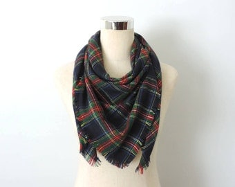 Flannel Scarf Plaid Large Square Blue Red Green