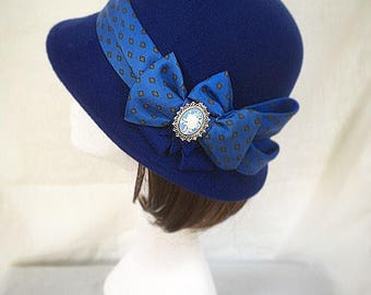 Blue hat, blue 1920s hat , cloche hat , Downton Abbey, gift for her, Gatsby hat
