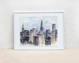 New York city. New York painting. NYC painting. New York watercolor painting. New York wall art Cityscape painting Original artwork 8x10