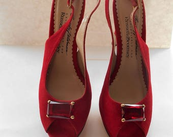 Vintage Beverly Feldman Jewelled Platform Red Suede Evening Party Shoes High Heels UK 6.5 US 8 1/2