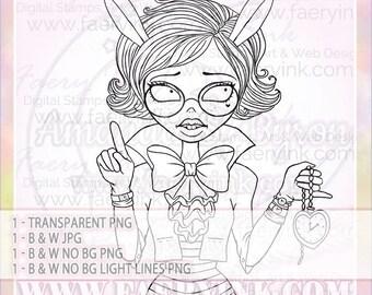 Ophelia in Wonderland White Rabbit UNCOLORED Digital Stamp Image Adult Coloring Page jpeg png jpg Craft Cardmaking Papercrafting DIY