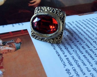Square-Ring Statement Crystal-Ring Bohemian-Ring Ring-Large Statement Art Ring Unusual-Ring Unique-Ring Fashion-Ring Swarovski-Ring