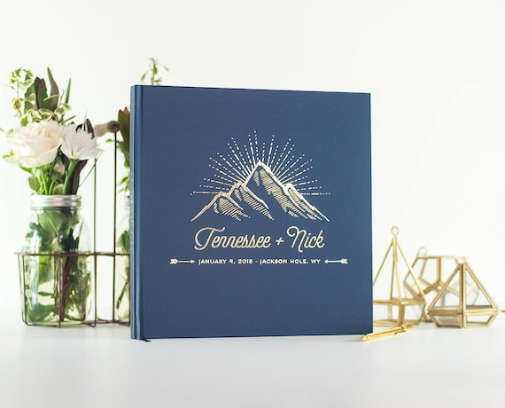 Wedding Guest Book with gold foil mountain wedding guestbook personalized hardcover book planner lined pages instant photo navy gold album