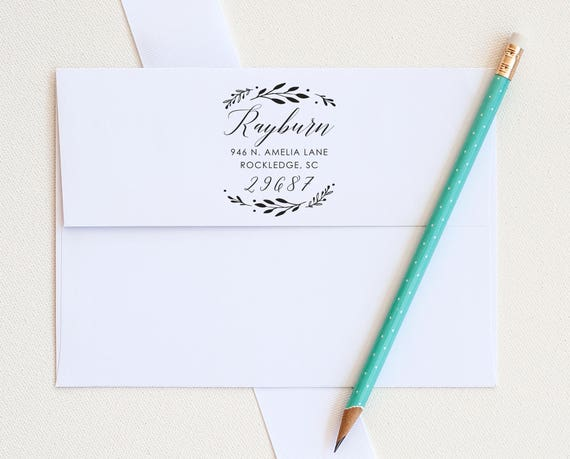 Laurel Address Stamp, Custom Address Stamp, Return Address stamp, Wedding Invitation stamp, Botanical Address Stamp, Personalized stamp gift