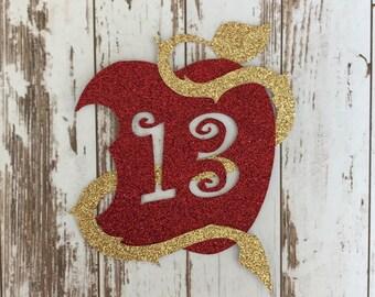 Descendants 2 Apple Symbol Glitter Die Cut/Birthday Party Decoration/ Embellishment/Cake Topper - 13 Years old