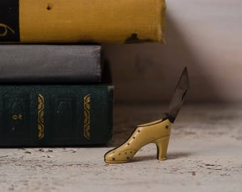 Stocking Stuffer Antique ladies shoes gift|for|wife knife pen knife collectible pocket knife accessory for women Victorian style