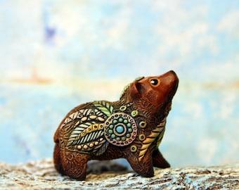 Bear Grizzly Animal Totem Figurine Fantasy Skulpture Guardian Forest Spirit Amulet Shamanic TotembyKarhu