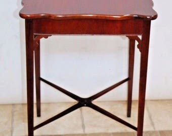 Gorgeous Vintage solid Mahogany cross leg accent Table Tall Square entry Insured safe nationwide shipping available