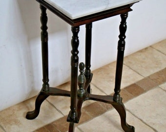 Antique Victorian Mahogany White Marble Top Plant Stand Side Table Nationwide shipping available