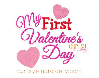 Valentine Embroidery Design, My First Valentine's Day Embroidery Design, Valentine's Day Embroidery Design