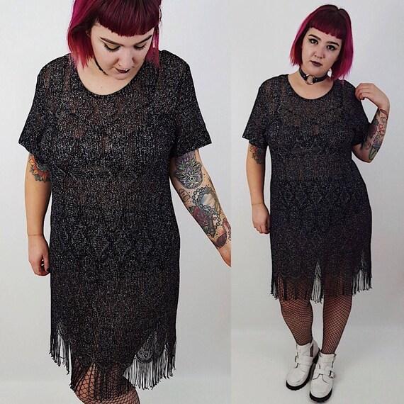 80's Sheer Black Mini Shift Dress XL - Metallic Black Sparkle Fringe Dress - Short Sleeve Vintage Womens Fancy Formal See Through Dress