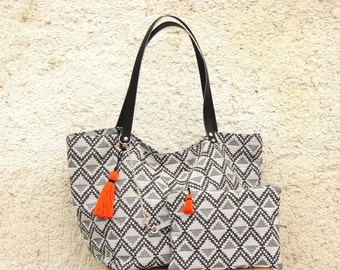 Tote bag, tote bag or shopping, graphic grey fabric with Pocket and tassel, leather handles