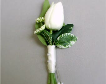 """Set of Ivory Tulip Boutonnieres with Queen Anne's Lace and Greenery, Real Touch Wedding Flowers, Groom's Boutonniere, Groomsmen, Dads """"Pure"""""""