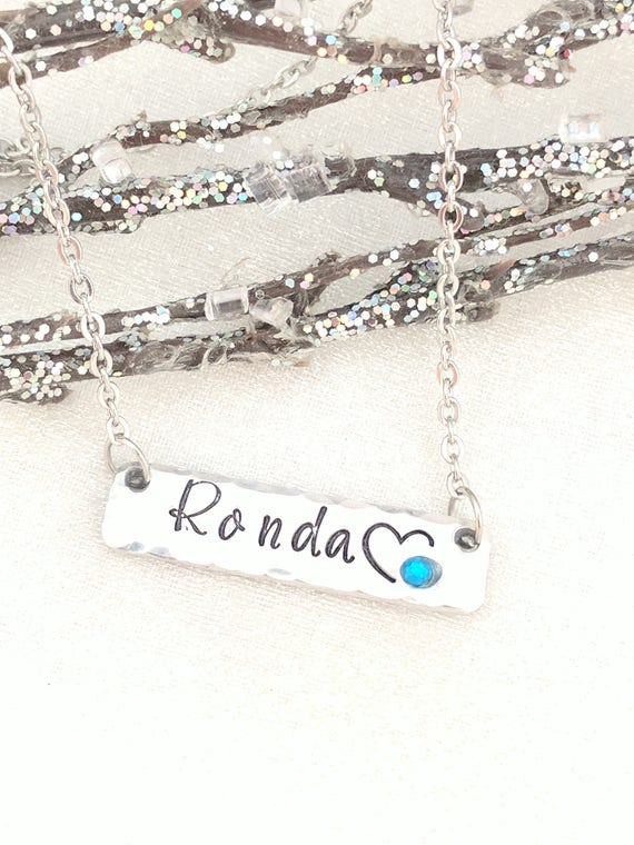 Name Necklace-Personalized Bar Necklace-Name Bar Necklace-Bridesmaid Gift-Stocking Stuffer-Metal Stamped Jewelry-Gift for Her-Birthstone