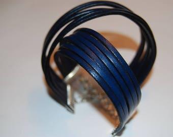 Genuine leather bracelet Navy Blue