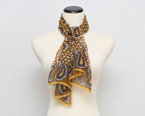 Vintage 1970s Vera Neumann Sheer Silk Paisley Print Scarf