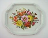 Small Metal Tray, Floral Design, Off White with Red, Yellow, Orange, Purple, Pink Flowers, Made in England by Elite Trays, Vintage 1960s
